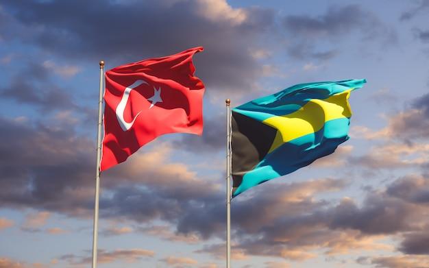 Flaggen der türkei und der bahamas. 3d-grafik