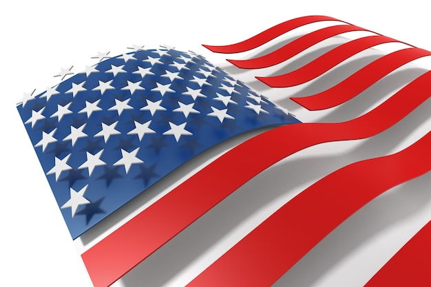 Flaggen der vereinigten staaten von amerika 3d-rendering