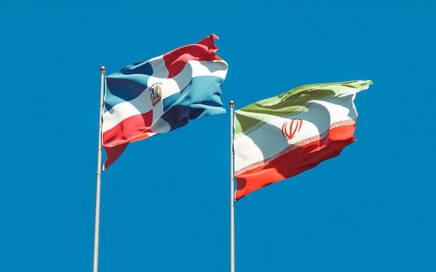 Flaggen des iran und der dominikanischen republik. 3d-grafik