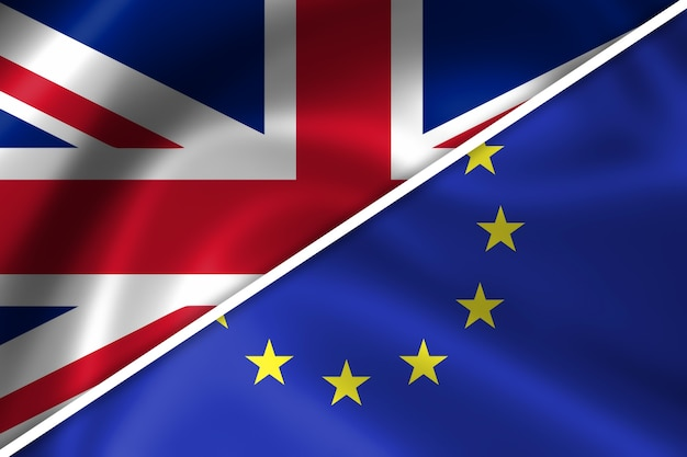 Flaggen des vereinigten königreichs und der europäischen union