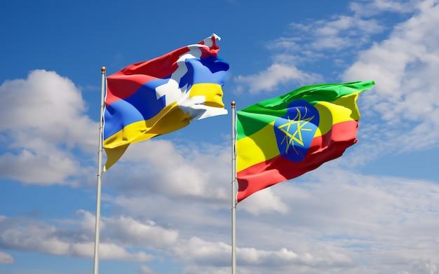 Flaggen von äthiopien und artsakh. 3d-grafik