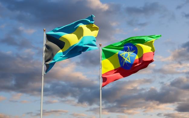 Flaggen von äthiopien und bahamas. 3d-grafik