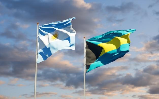 Flaggen von argentinien und bahamas