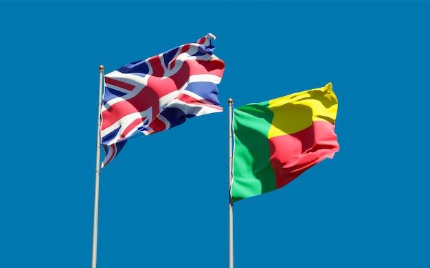 Flaggen von britischen briten und benin. 3d-grafik