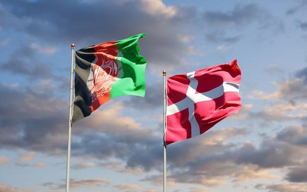 Flaggen von dänemark und afghanistan