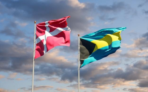 Flaggen von dänemark und bahamas