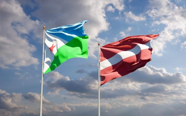 Flaggen von dschibuti und lettland. 3d-grafik