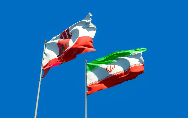 Flaggen von gibraltar und iran. 3d-grafik