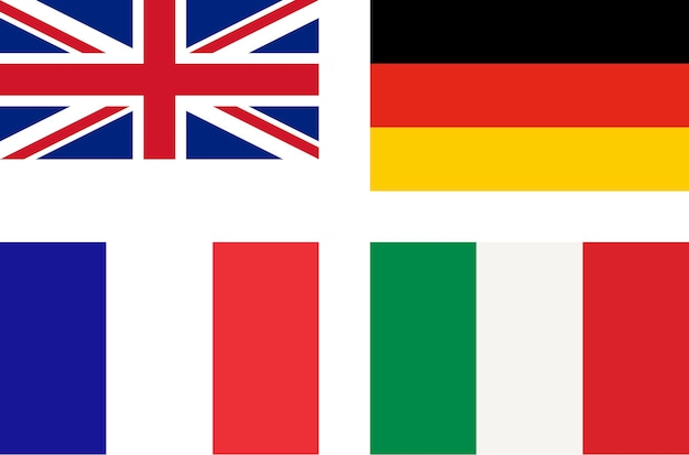 Flaggen von großbritannien deutschland frankreich italien