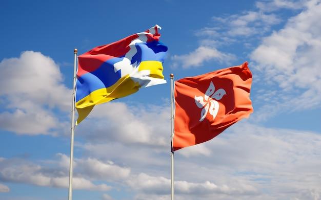 Flaggen von hong kong hk und artsakh. 3d-grafik
