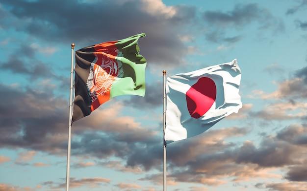 Flaggen von japan und afghanistan. 3d-grafik