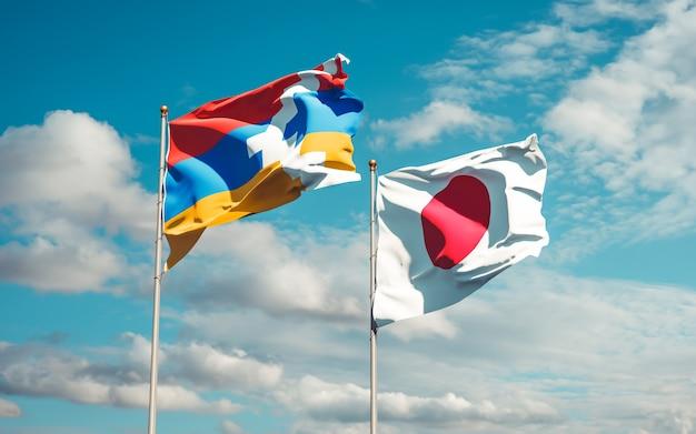 Flaggen von japan und artsakh. 3d-grafik