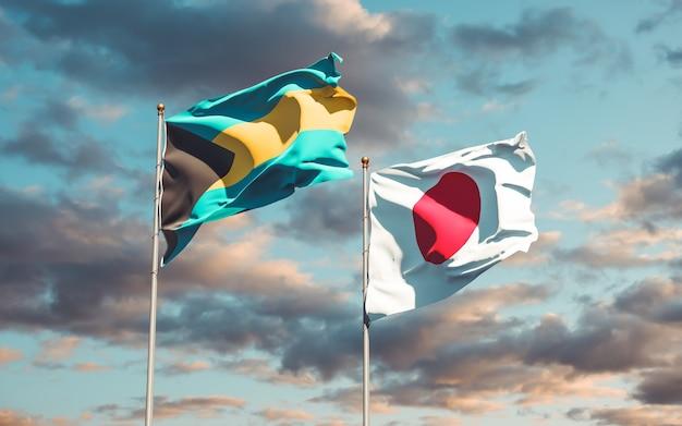 Flaggen von japan und bahamas. 3d-grafik