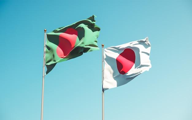 Flaggen von japan und bangladesch. 3d-grafik