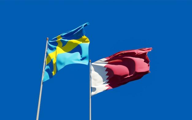 Flaggen von katar und schweden