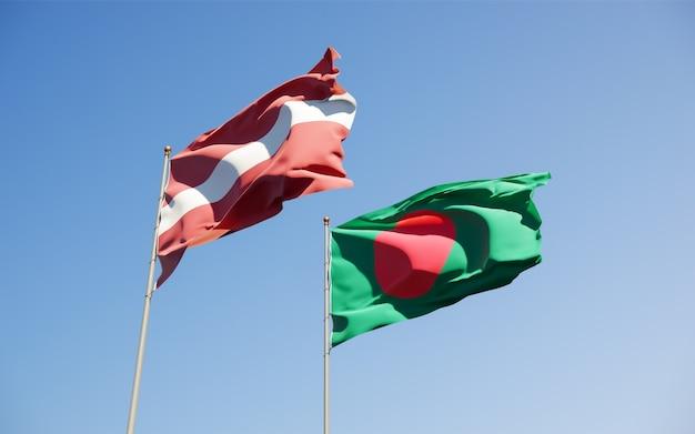Flaggen von lettland und bangladesch. 3d-grafik