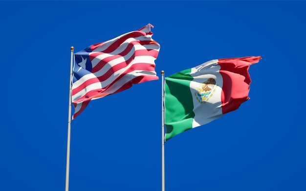 Flaggen von liberia und mexiko. 3d-grafik