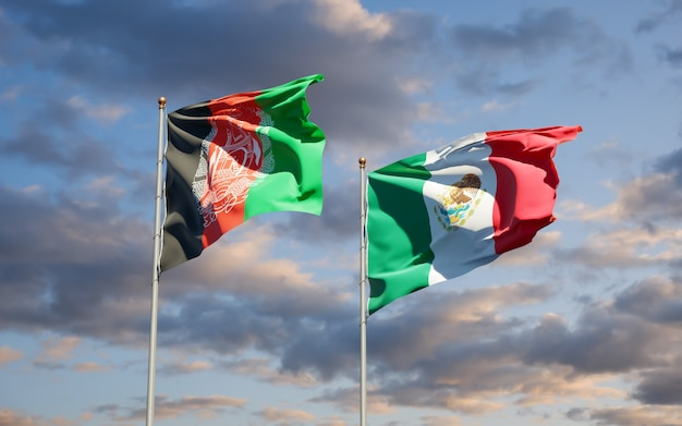 Flaggen von mexiko und afghanistan. 3d-grafik