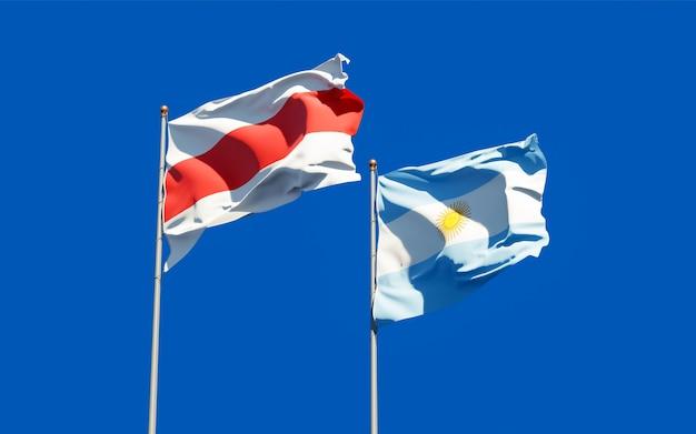 Flaggen von neu-weißrussland und argentinien. 3d-grafik