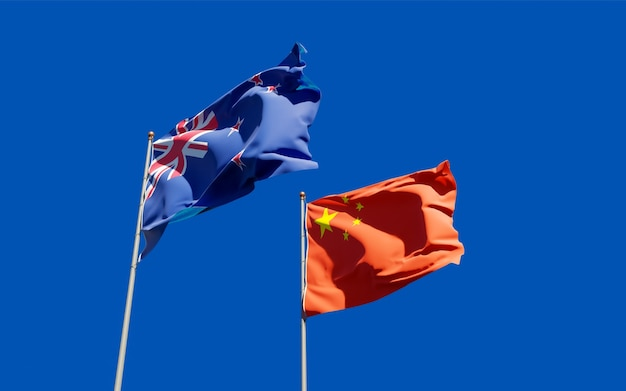 Flaggen von neuseeland und china.