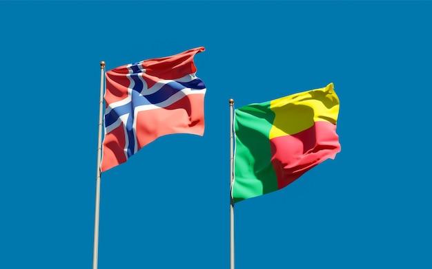 Flaggen von norwegen und benin. 3d-grafik