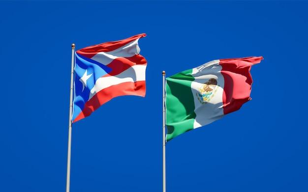 Flaggen von puerto rico und mexiko. 3d-grafik