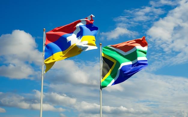Flaggen von sar african und artsakh. 3d-grafik