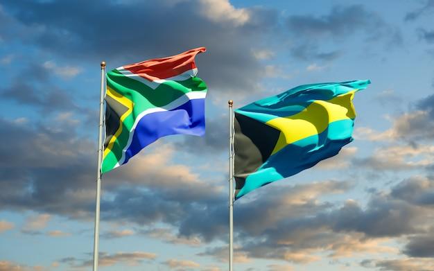 Flaggen von sar african und bahamas. 3d-grafik