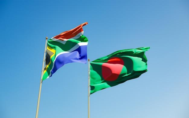 Flaggen von sar african und bangladesh. 3d-grafik