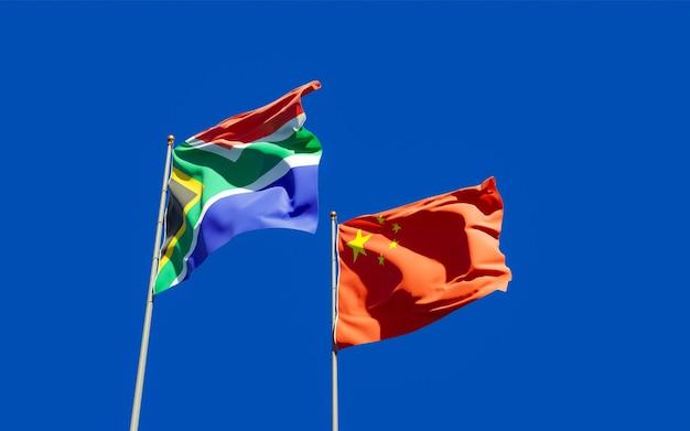 Flaggen von sar african und china. 3d-grafik