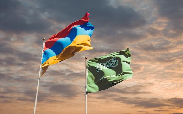 Flaggen von saudi-arabien und armenien. 3d-grafik