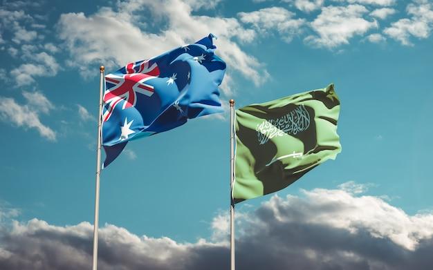 Flaggen von saudi-arabien und australien. 3d-grafik