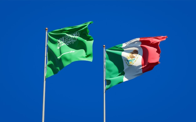 Flaggen von saudi-arabien und mexiko. 3d-grafik