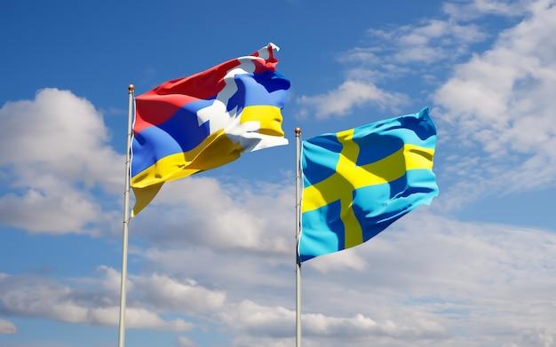 Flaggen von schweden und artsakh.