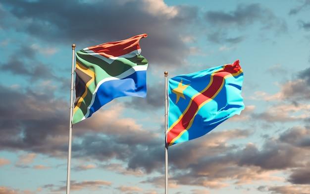 Flaggen von südafrika und der dr kongo. 3d-grafik