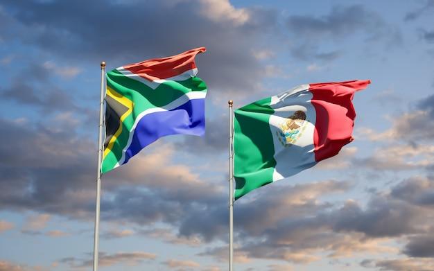 Flaggen von südafrika und mexiko. 3d-grafik