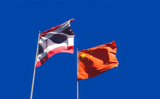 Flaggen von thailand und china. 3d-grafik