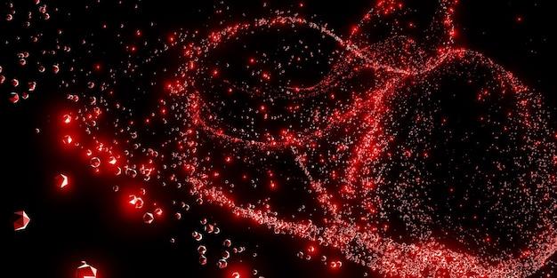 Flak abstrakte moleküle und atome eine linie von feuerstreifen 3d-darstellung