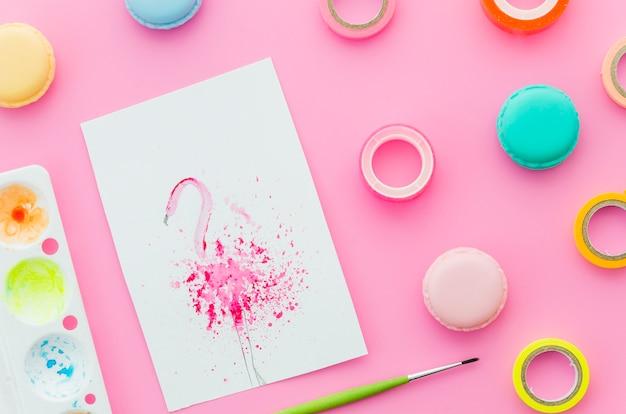 Flamingo-aquarell von oben