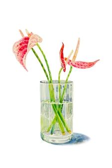 Flamingoblumen in einem glas.