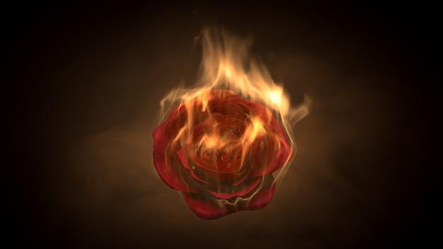 Flammende rosenblume auf schwarzem hintergrund. liebesgefühlskonzept. 3d-rendering
