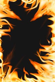 Flammender flammenhintergrund, realistisches feuerbild des orange rahmens