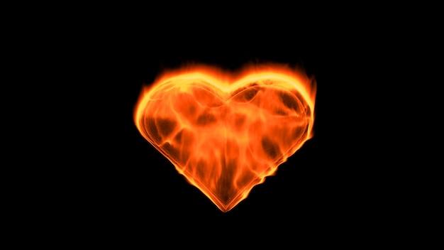 Flammendes herz auf dem schwarzen hintergrund. liebesgefühlskonzept. 3d-rendering.