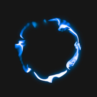 Flammenrahmen, blaue kreisform, realistisches brennendes feuer