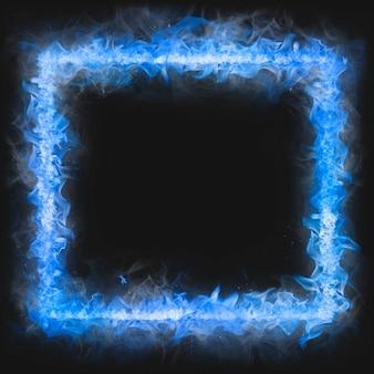 Flammenrahmen, blaue quadratische form, realistisches brennendes feuer