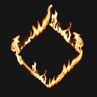 Flammenrahmen, quadratische form, realistisches brennendes feuer