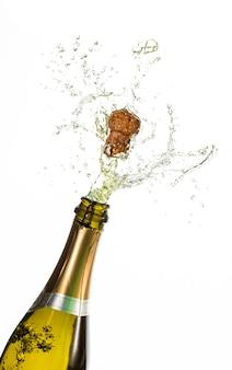 Flasche champagner knallend