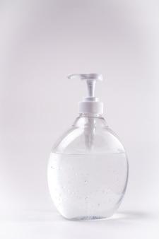 Flasche desinfektionsgel gel alkohol desinfektionsmittel für hände vertikal mit neutralem weiß