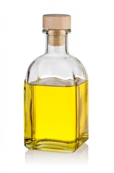 Flasche gelbes öl mit verschluss