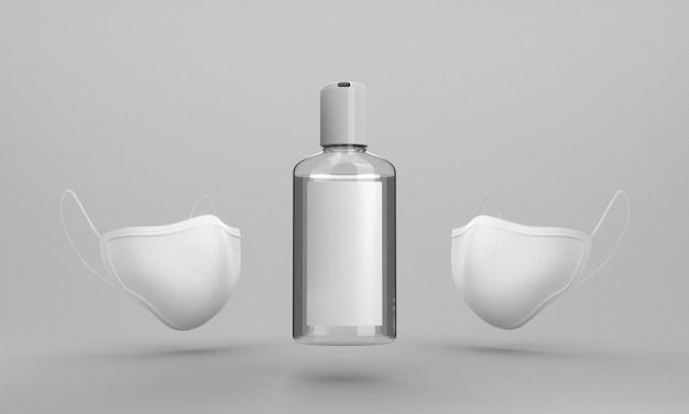 Flasche händedesinfektionsmittel und gesichtsmaske